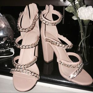 Gold chains fashion trendy sandals heels